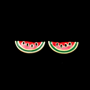 Silver Watermelon Enamel Earrings