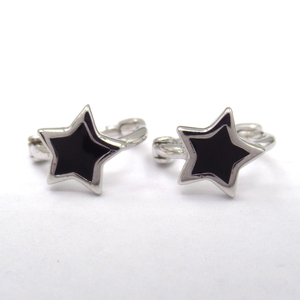 Silver Star Shaped Enamel Hoops