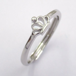 Silver Crown Shaped Plain Ring